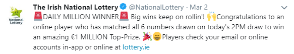irish jackpot winner