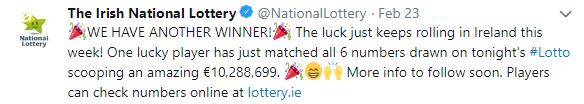 irish lotto winner announcement