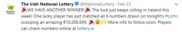 irish lotto winner announcement